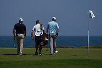 Zander Lombard (RSA) and Sami Valimaki (FIN) on the 9th during Round 3 of the Oman Open 2020 at the Al Mouj Golf Club, Muscat, Oman . 29/02/2020<br /> Picture: Golffile   Thos Caffrey<br /> <br /> <br /> All photo usage must carry mandatory copyright credit (© Golffile   Thos Caffrey)