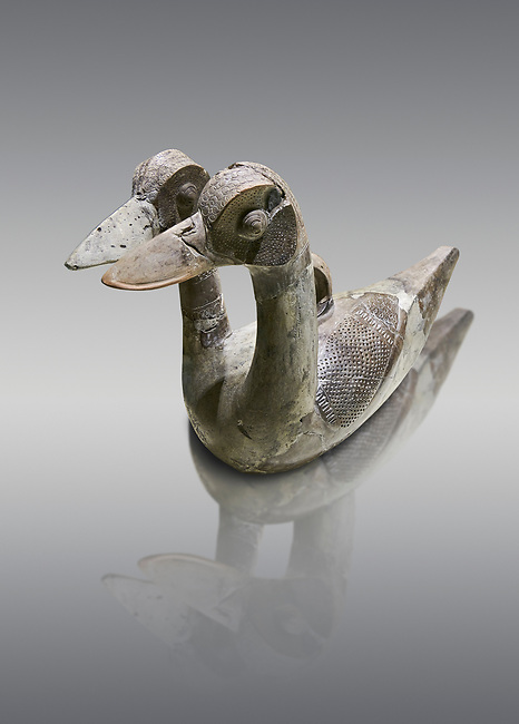 Hittite terra cotta ritual vessel in the shape of a duck with two heads - 16th century BC - Hattusa ( Bogazkoy ) - Museum of Anatolian Civilisations, Ankara, Turkey . Against gray background