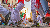 Europe,Spain,Pamplona,San Fermin festival 2018, Encierro, 8 am the bulls are released and the participants run forward