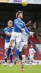 St Johnstone v Inverness Caley Thistle...08.08.15...SPFL..McDiarmid Park, Perth.<br /> Murray Davidson gets above Andrea Mutombo<br /> Picture by Graeme Hart.<br /> Copyright Perthshire Picture Agency<br /> Tel: 01738 623350  Mobile: 07990 594431