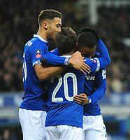 Everton's Bernard celebrates scoring his side's second goal with team-mates<br /> <br /> Photographer Andrew Vaughan/CameraSport<br /> <br /> Emirates FA Cup Third Round - Everton v Lincoln City - Saturday 5th January 2019 - Goodison Park - Liverpool<br />  <br /> World Copyright &copy; 2019 CameraSport. All rights reserved. 43 Linden Ave. Countesthorpe. Leicester. England. LE8 5PG - Tel: +44 (0) 116 277 4147 - admin@camerasport.com - www.camerasport.com