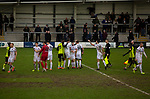 AFC Fylde 1, Aldershot Town 0, 14/03/2020. Mill Farm, National League. Tempers flare after the final whistle as AFC Fylde (in white) took on Aldershot Town in a National League game at Mill Farm, Wesham. The fixture was played against the backdrop of the total postponement of all Premier League and EFL football matches due to the the coronavirus outbreak. The home team won the match 1-0 with first-half goal by Danny Philliskirk watched by a crowd of 1668. Photo by Colin McPherson.