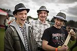 © Joel Goodman - 07973 332324 . 14 September 2013 . Ramsbottom Cricket Club , Ramsbottom , UK . L-R Dan Tomkins (16) , Hal Taylor-Manning (16) and Seb Thompson (16) with DIY Ukulele made from margarine tub, scrap wood and nylon fishing wire (all correct, all from Sale) . The Ramsbottom Festival . Photo credit : Joel Goodman