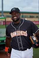 Jupiter Hammerheads Lazaro Alonso (44) before a Florida State League game against the Lakeland Flying Tigers on August 12, 2019 at Roger Dean Chevrolet Stadium in Jupiter, Florida.  Jupiter defeated Lakeland 9-3.  (Mike Janes/Four Seam Images)