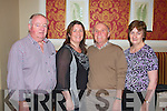 Fundraising ceili at the Devon Inn Hotel, Templeglantine for Fr. Chris O'Donnel and his missions in Argentina. Pictured L-R: Larry McAuliffe of Wolverhampton UK, Anna-Maria McAuliffe of Wolverhampton UK, Joe McAuliffe of Templeglantine and Bernie McAuliffe of Templeglantine.