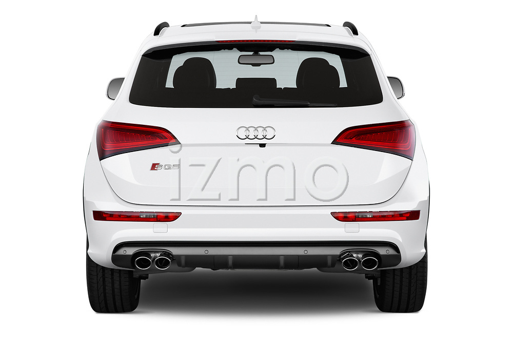 Straight rear view of 2015 Audi SQ5 quattro tiptronic Premium 5 Door SUV stock images