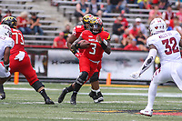 College Park, MD - September 15, 2018: Maryland Terrapins quarterback Tyrrell Pigrome (3) during the game between Temple and Maryland at  Capital One Field at Maryland Stadium in College Park, MD.  (Photo by Elliott Brown/Media Images International)