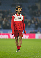 26th December 2019; King Power Stadium, Leicester, Midlands, England; English Premier League Football, Leicester City versus Liverpool; Mohamed Salah of Liverpool during the match warm up - Strictly Editorial Use Only. No use with unauthorized audio, video, data, fixture lists, club/league logos or 'live' services. Online in-match use limited to 120 images, no video emulation. No use in betting, games or single club/league/player publications