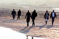 Passeggiata sulla spiaggia del Lido di Venezia, in autunno.<br /> Autumn beach scene at Venice's Lido.<br /> UPDATE IMAGES PRESS/Riccardo De Luca