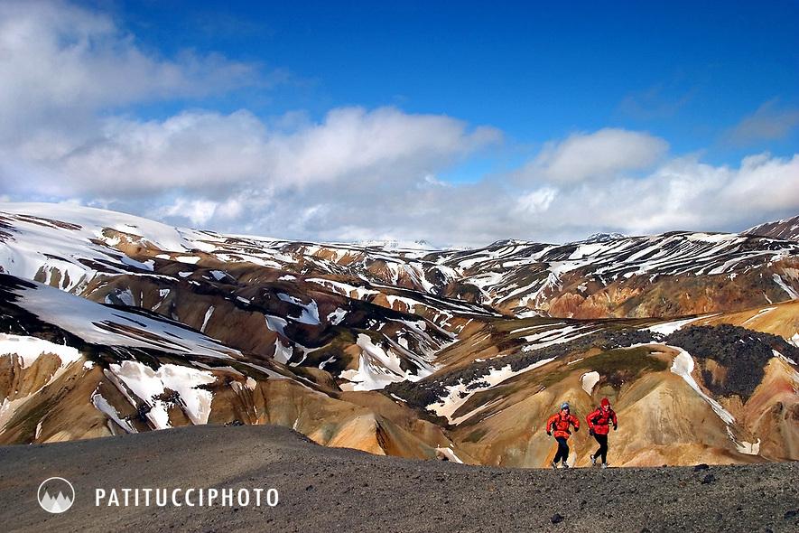 Running up Blahnukur Peak's ridgeline. Landmannalaugar, Laugavegur, Iceland
