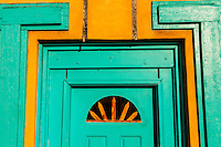 A turquoise doorway, Old Town Plaza, Albuquerque, New Mexico USA