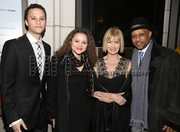 Trey Santiago-Hudson, Lily Santiago-Hudson,  Jeannie Brittan and Ruben Santiago-Hudson attend the Manhattan Theatre Club's Broadway debut of August Wilson's 'Jitney' at the Samuel J. Friedman Theatre on January 19, 2017 in New York City.
