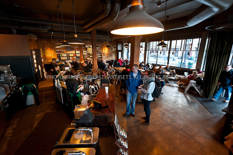 2/16/2011--Seattle, WA, USA...The Starbucks at 1st St. and Pike St. in downtown Seattle. The store is one of several stores that have been remodeled and updated...©2011 Stuart Isett. All rights reserved.