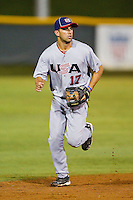Shortstop Deven Marrero #17 (Arizona State) of the USA Baseball Collegiate National Team on defense against the Gastonia Grizzlies at Sims Legion Park on June 30, 2011 in Gastonia, North Carolina.  Team USA defeated the Grizzlies 12-5.  Brian Westerholt / Four Seam Images