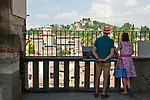 The city of Bergamo, Italy as seen from Campanone bell tower