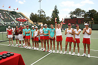 23 May 2006: Julie Scott-Thu, Megan Doheny, Anne Yelsey, Frankie Brennan, Whitney Deason, Jessica Leck, Lejla Hodzic, Alice Barnes, Celia Durkin, Joanna Kao, Lele Forood, Theresa Logar, Jessica Nguyen, and Amber Liu (not in that order) after Stanford's 4-1 win over the Miami Hurricanes in the 2006 NCAA Division 1 Women's Tennis Team Championships at the Taube Family Tennis Stadium in Stanford, CA.