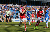 Fleetwood Town's Ashley Hunter celebrates scoring his sides first goal <br /> <br /> Photographer Rob Newell/CameraSport<br /> <br /> The EFL Sky Bet League One - Gillingham v Fleetwood Town - Saturday 22nd April 2017 - MEMS Priestfield Stadium - Gillingham<br /> <br /> World Copyright v&Ccedil;&not;&copy; 2017 CameraSport. All rights reserved. 43 Linden Ave. Countesthorpe. Leicester. England. LE8 5PG - Tel: +44 (0) 116 277 4147 - admin@camerasport.com - www.camerasport.com