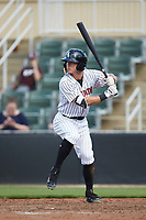Tyler Frost (1) of the Kannapolis Intimidators at bat against the West Virginia Power at Kannapolis Intimidators Stadium on July 25, 2018 in Kannapolis, North Carolina. The Intimidators defeated the Power 6-2 in 8 innings in game one of a double-header. (Brian Westerholt/Four Seam Images)