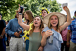 ELMONT, NY - JUNE 09: Fans root for their horse on Belmont Stakes Day at Belmont Park on June 9, 2018 in Elmont, New York. (Photo by Scott Serio/Eclipse Sportswire/Getty Images)