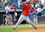 5 March 2011: Washington Nationals' pitcher Atahualpa Severino in action during a Spring Training game against the New York Yankees at George M. Steinbrenner Field in Tampa, Florida. The Nationals defeated the Yankees 10-8 in Grapefruit League action. Mandatory Credit: Ed Wolfstein Photo