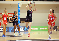 10.09.2017 Silver Ferns Katrina Grant in action during the Taini Jamison Trophy match between the Silver Ferns and England at Pettigrew Green Arena in Napier. Mandatory Photo Credit ©Michael Bradley.