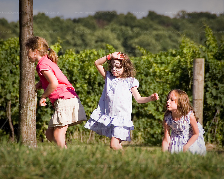 Three girls play follow the leader near the vineyards at Breaux Vineyards (during the annual Key West Fest celebration).
