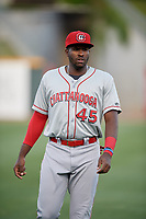 Chattanooga Lookouts Ibandel Isabel (45) during warmups before a Southern League game against the Birmingham Barons on May 2, 2019 at Regions Field in Birmingham, Alabama.  Birmingham defeated Chattanooga 4-2.  (Mike Janes/Four Seam Images)