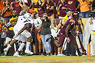 Landover, MD - September 3, 2017: Virginia Tech Hokies wide receiver Cam Phillips (5) scores a touchdown during game between Virginia Tech and WVA at  FedEx Field in Landover, MD.  (Photo by Elliott Brown/Media Images International)