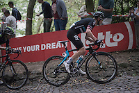 Lars Petter Nordhaug (NOR/SKY) is the first rider charging up the iconic Muur van Geraardsbergen (1100m/7.6%)<br /> <br /> 12th Eneco Tour 2016 (UCI World Tour)<br /> Stage 7: Bornem › Geraardsbergen (198km)
