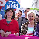 "© Joel Goodman - 07973 332324 . No syndication permitted . 29/09/2013 . Manchester , UK . Lucy Powell , MP for Manchester Central and Coronation Street 's Julie Hesmondhalgh at the front of the march . A Unison lead demonstration titled "" Save our NHS "" through Manchester City Centre today (Sunday 29th September 2013) coinciding with the Conservative Party Conference in the city . Photo credit : Joel Goodman"