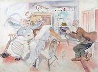BNPS.co.uk (01202 558833)<br /> Pic: GSpencerEstate/LissLlewellyn<br /> <br /> 'All Ranks to practice at home what they learn on the parade ground'<br /> <br /> Never-before-seen paintings depicting the humourous side of the Home Guard that were censored for being too offensive have come to light nearly 80 years later.<br /> <br /> The light-hearted works were produced by the artist Gilbert Spencer more than 25 years before Dad's Army appeared on TV to huge acclaim. <br /> <br /> But Spencer's witty take on life in the Home Guard wasn't quite so well received during the darkest days of the Second World War.<br /> <br /> Spencer was too old to enlist in the army and so joined the Home Guard. In wanting to do his bit he produced 14 paintings based on his amusing observations of the citizen militia that were aimed at cheering up the nation.
