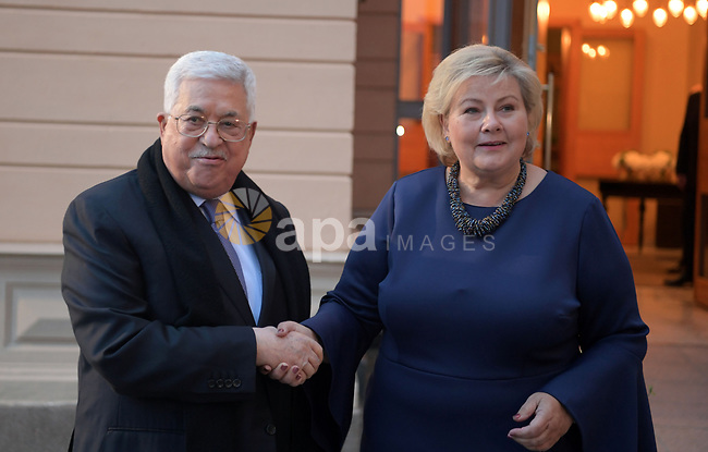 Palestinian President Mahmoud Abbas meets with the Prime Minister of Norway, in Oslo, on September 19, 2019. Photo by Thaer Ganaim