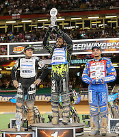 ANTONIO LINDBACK (Sweeden), centre, lifts his trophy after winning the 2016 Adrian Flux British FIM Speedway Grand Prix at Principality Stadium, Cardiff, Wales  on 9 July 2016. Photo by David Horn.