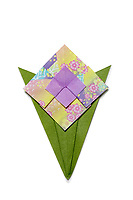 New York, NY, USA - February 2, 2018: Origami Pocket Posy Flower designed by Gay Merrill Gross and folded by a member of OrigamiUSA