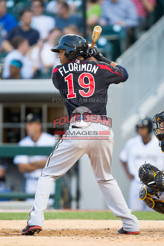 Pedro Florimon (19) of the Rochester Red Wings at bat against the Charlotte Knights at BB&T Ballpark on June 5, 2014 in Charlotte, North Carolina.  The Knights defeated the Red Wings 7-6.  (Brian Westerholt/Four Seam Images)