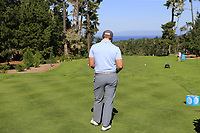 Paul Dunne (IRL) waits on the 1st tee during Thursday's Round 1 of the 2018 AT&amp;T Pebble Beach Pro-Am, held over 3 courses Pebble Beach, Spyglass Hill and Monterey, California, USA. 8th February 2018.<br /> Picture: Eoin Clarke | Golffile<br /> <br /> <br /> All photos usage must carry mandatory copyright credit (&copy; Golffile | Eoin Clarke)