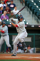 Pawtucket Red Sox shortstop Deven Marrero (12) at bat during a game against the Buffalo Bisons on August 28, 2015 at Coca-Cola Field in Buffalo, New York.  Pawtucket defeated Buffalo 7-6.  (Mike Janes/Four Seam Images)