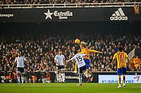 VALENCIA, SPAIN - DECEMBER 5: Perez, Rakitic during BBVA LEAGUE match between Valencia C.F. and FC Barcelona at Mestalla Stadium on December 5, 2015 in Valencia, Spain