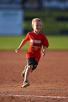 Young Batavia Muckdogs fan runs the bases after a game against the West Virginia Black Bears on August 21, 2016 at Dwyer Stadium in Batavia, New York.  West Virginia defeated Batavia 6-5. (Mike Janes/Four Seam Images)