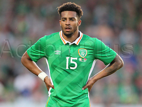 31.05.2016, Turners Cross Stadium, Cork, Ireland. International football friendly between republic of ireland and Belarus.  Cyrus Christie of Republic of Ireland waits for the play to take shape