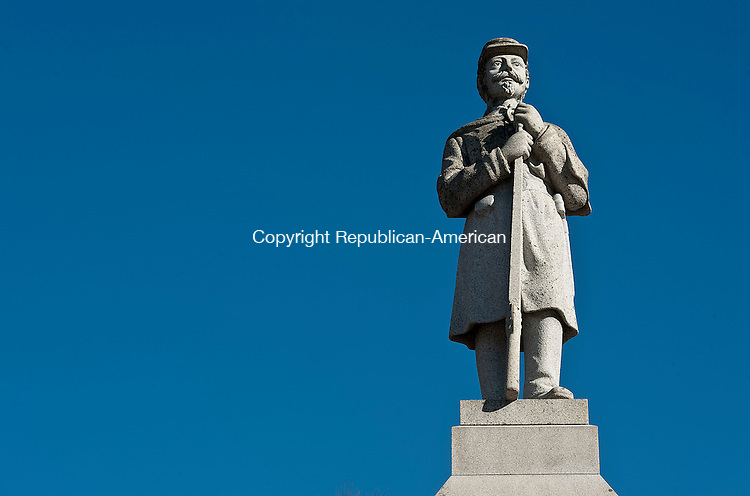 NEW HARTFORD ,  CT,  CT-041115JS43- The Soldiers' Monument  in the Village Cemetery on Town Hill Road in New Hartford. <br /> Jim Shannon Republican-American