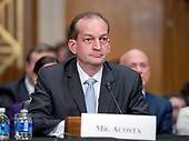 R. Alexander Acosta, Dean of Florida International University College of Law and United States President Donald J. Trump's nominee for US Secretary of Labor, testifies during his confirmation hearing before the US Senate Committee on Health, Education, Labor & Pensions on Capitol Hill in Washington, DC on Wednesday, March 22, 2017.<br /> Credit: Ron Sachs / CNP