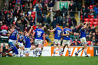 Bath Rugby players celebrate at the final whistle. Gallagher Premiership match, between Leicester Tigers and Bath Rugby on May 18, 2019 at Welford Road in Leicester, England. Photo by: Patrick Khachfe / Onside Images