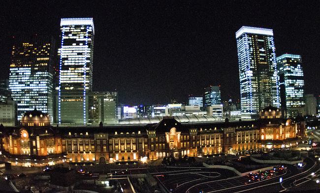 Tokyo Train station and Tokyo Station Hotel at night in Marunouchi, Tokyo Japan