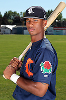 Connecticut Tigers outfielder P.J. Polk (15) before a double header vs. the Batavia Muckdogs at Dwyer Stadium in Batavia, New York July 10, 2010.  Connecticut dropped the first game 3-5 then defeated Batavia 8-1 in the night cap.  Photo By Mike Janes/Four Seam Images