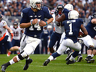 November 2, 2013  (State College, Pennsylvania)  Quarterback Christian Hackenberg #14 of the Penn State Nittany Lions hands the ball to running back Bill Belton #1 in a  game against the Illinois Fighting Illini Nov. 2, 2013. Penn State won in OT 24-17. (Photo by Don Baxter/Media Images International)