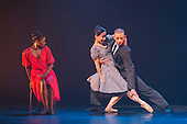 London, UK. 17 March 2016. L-R: Cira Robinson, Sayaka Ichikawa and Joshua Harriette. Storyville by Christopher Hampson. Ballet Black present a Triple Bill at the Barbican Theatre on 18 and 19 March 2016. Premiere of Cristaux choreographed by Arthur Pita, the premiere of To Begin, Begin by Christopher Marney and a reworked version of Storyville by Christopher Hampson. Dancers performing are Cira Robinson, Kanika Carr, Isabela Coracy, Sayaka Ichikawa, Damien Johnson, Jacob Wye, Mthuthuzeli November and Joshua Harriette.