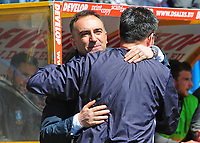 Sheffield Wednesday manager Carlos Carvalhal greets Huddersfield Town manager David Wagner before kick off<br /> <br /> Photographer Andrew Vaughan/CameraSport<br /> <br /> The EFL Sky Bet Championship Play-Off Semi Final First Leg - Huddersfield Town v Sheffield Wednesday - Saturday 13th May 2017 - The John Smith's Stadium - Huddersfield<br /> <br /> World Copyright &copy; 2017 CameraSport. All rights reserved. 43 Linden Ave. Countesthorpe. Leicester. England. LE8 5PG - Tel: +44 (0) 116 277 4147 - admin@camerasport.com - www.camerasport.com