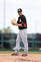 Miami Marlins pitcher David Phelps (41) during a Spring Training game against the Detroit Tigers on March 25, 2015 at Joker Marchant Stadium in Lakeland, Florida.  Detroit defeated Miami 8-4.  (Mike Janes/Four Seam Images)