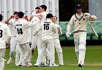 Oxford players celebrate after taking the wicket of Zak Crawley (R) during the friendly game between Kent CCC and Oxford University at the St Lawrence Ground, Canterbury, on Sun Apr 1, 2018